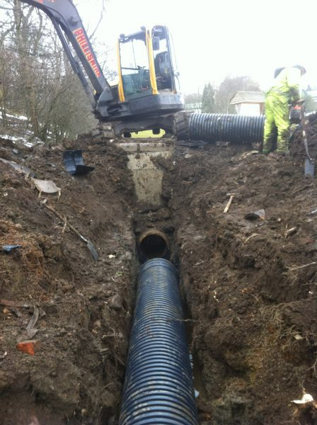 Installation of twinwall drainage pipe